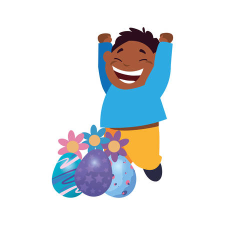 happy young boy with easter eggs flowers decoration vector illustration Banco de Imagens - 124726011
