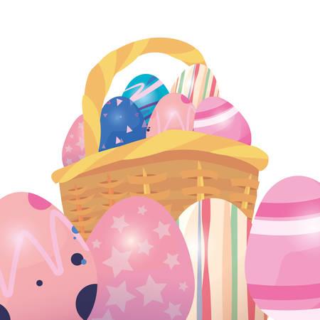 basket filled decorative eggs happy easter vector illustration