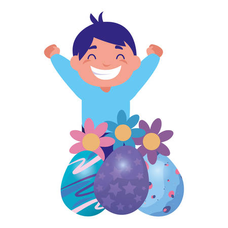 happy young boy with easter eggs flowers decoration vector illustration Banco de Imagens - 124726026