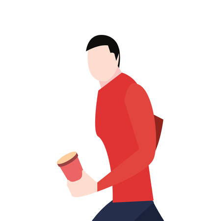 man walking with disposable cup in hand vector illustration vector illustration Çizim