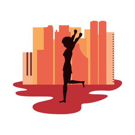 woman silhouette in the city street vector illustration vector illustration Çizim