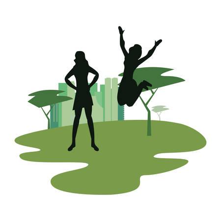 women silhouette in the park city vector illustration vector illustration