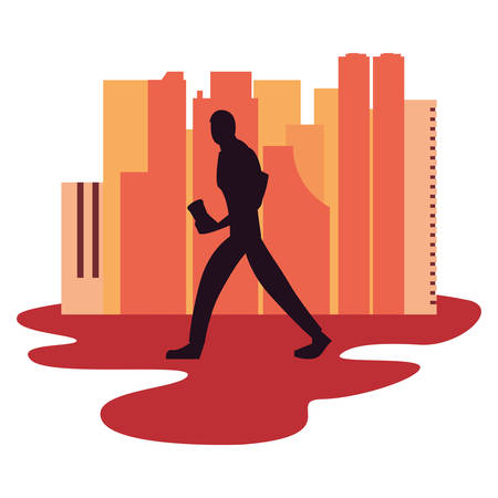 man silhouette walking with disposable cup in hand vector illustration vector illustration