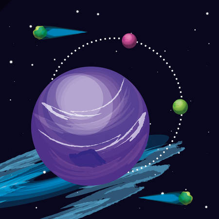 space with pluto planet universe scene vector illustration design