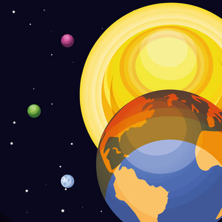 space with earth planet universe scene vector illustration design