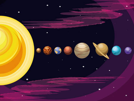 space with set of planets universe scene vector illustration design