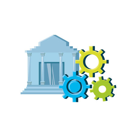 bank building with gears isolated icon vector illustration design