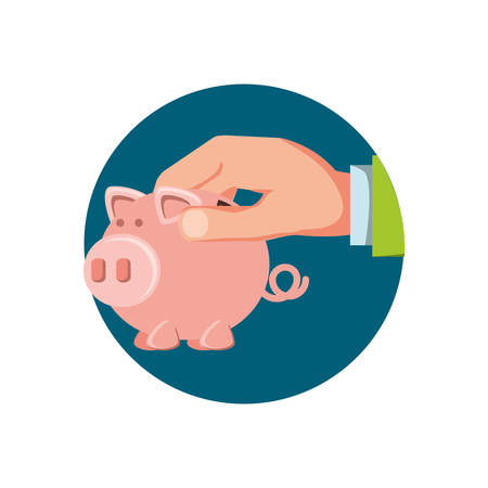 hand with saving piggy isolated icon vector illustration design
