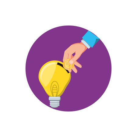 saving light bulb with hand vector illustration design
