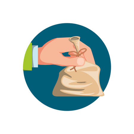 hand with bag money isolated icon vector illustration design