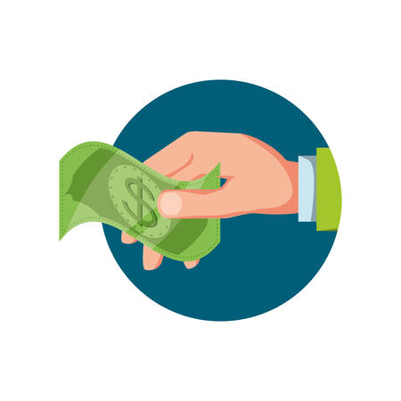 hand with bill dollar isolated icon vector illustration design Illustration