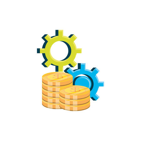pile of coins dollar with gears pinion vector illustration design