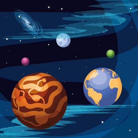 spazio con il design dell'illustrazione vettoriale della scena dell'universo del pianeta Marte