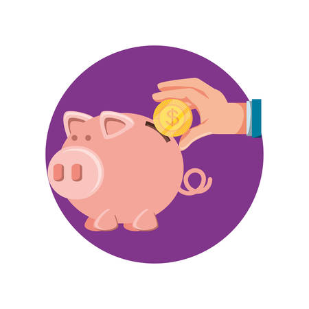 hand with saving piggy and coin vector illustration design