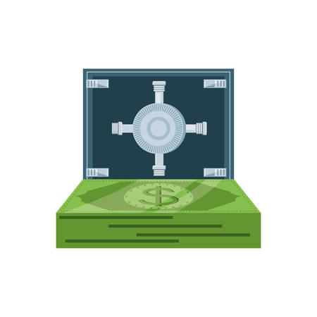 safe box security with bills dollar vector illustration design