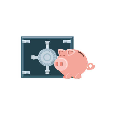 saving piggy with safe box isolated icon vector illustration design Illustration
