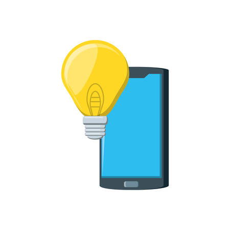 smartphone with light bulb isolated icon vector illustration design Ilustração