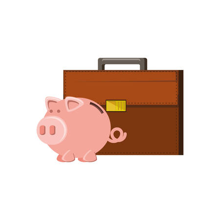 saving piggy with portfolio suitcase vector illustration design