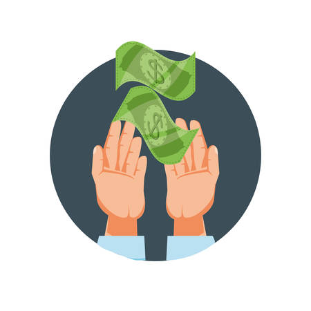 hands with bills dollar isolated icon vector illustration design