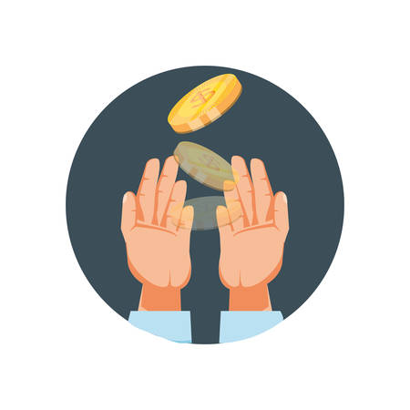 hand with coins dollar isolated icon vector illustration design