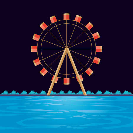 wheel panoramic of amusement park vector illustration design Illustration