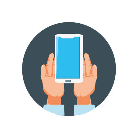 hands with smartphone device isolated icon vector illustration design