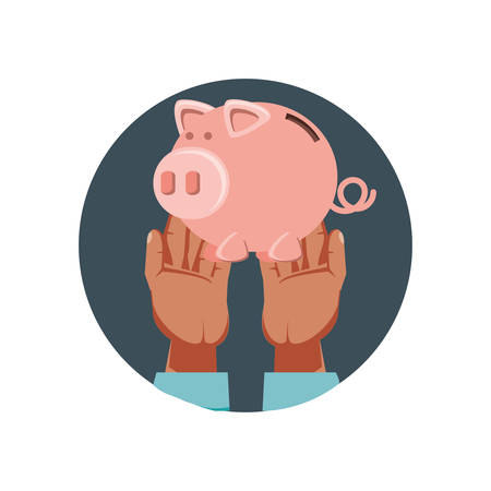 hands with saving piggy isolated icon vector illustration design