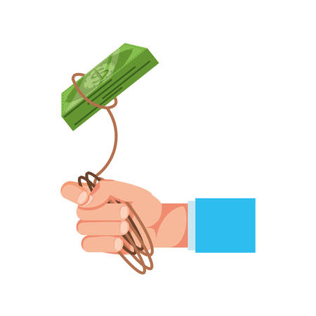 hand with bill dollar and rope vector illustration design Illustration