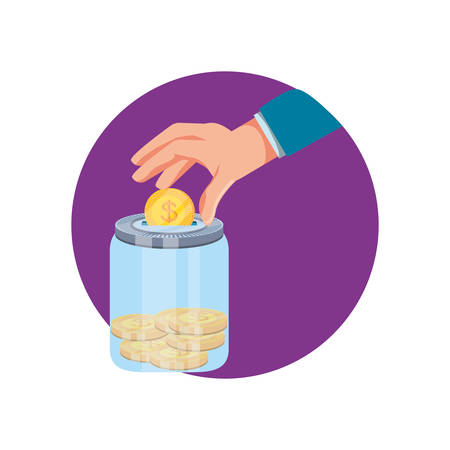 hand and saving jar with money coins vector illustration design