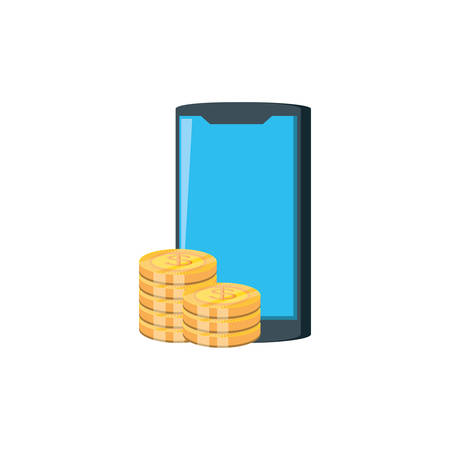 smartphone with pile coins isolated icon vector illustration design