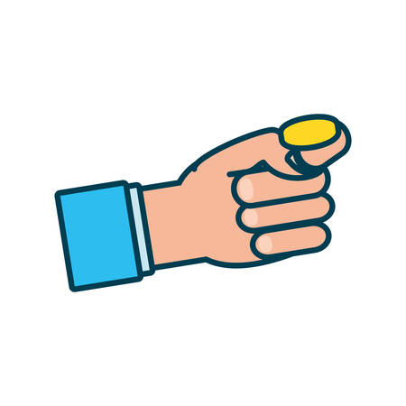 hand with coin money isolated icon vector illustration design