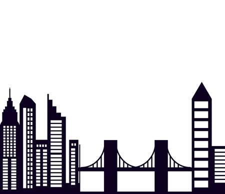 buildings cityscape scene with bridge vector illustration design