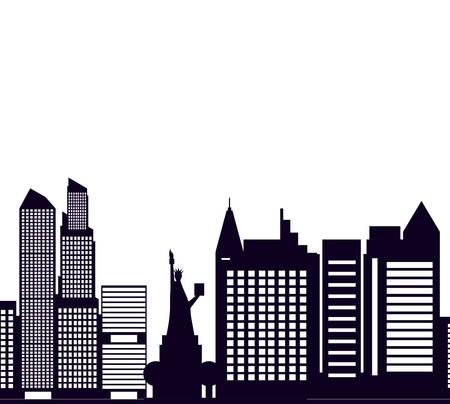 buildings cityscape scene with liberty statue vector illustration design Illustration