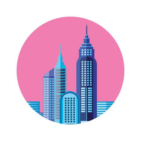 buildings cityscape scene sky pink in frame circular vector illustration design