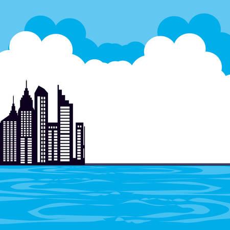 buildings cityscape scene day vector illustration design Illustration