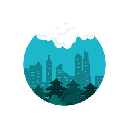 buildings cityscape with sky blue in frame circular vector illustration design