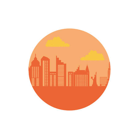 buildings cityscape scene day in frame circular vector illustration design