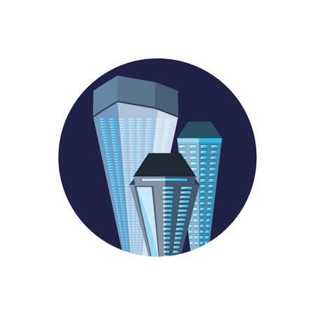 buildings cityscape night scene in frame circular vector illustration design
