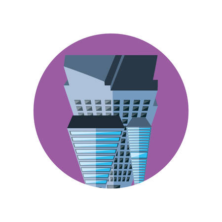 buildings cityscape scene purple sky in frame circular vector illustration design
