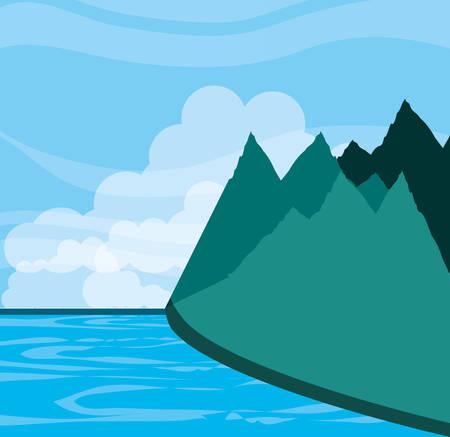 landscape mountainous with lake vector illustration design