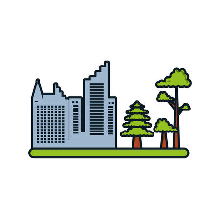 building cityscape with tree plant vector illustration design Illustration