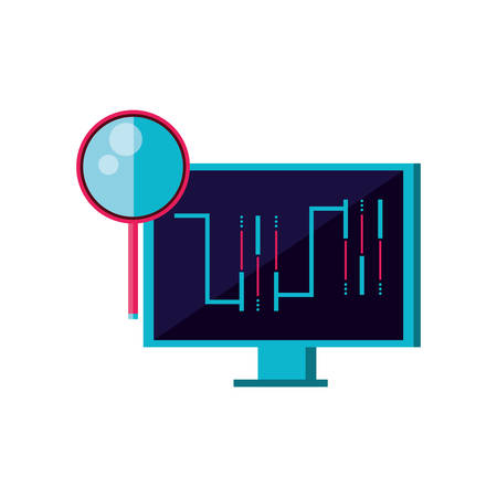 computer monitor with circuit and magnifying glass vector illustration design Ilustração
