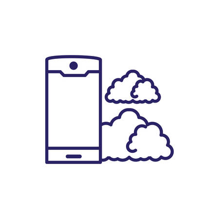 smartphone device with clouds computing vector illustration design