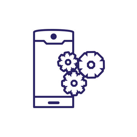 smartphone device with gears pinion vector illustration design
