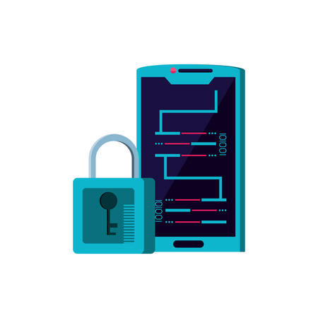 smartphone device with code binary and padlock vector illustration design