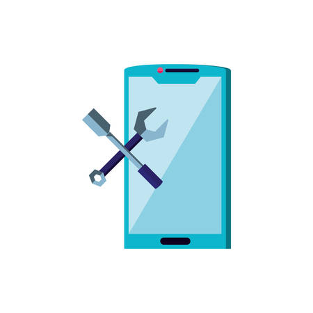 smartphone device with tools crossed vector illustration design