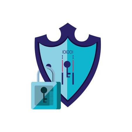 shield secure with padlock isolated icon vector illustration design Illusztráció