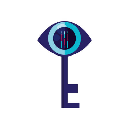 cyber security eye with key shape vector illustration design