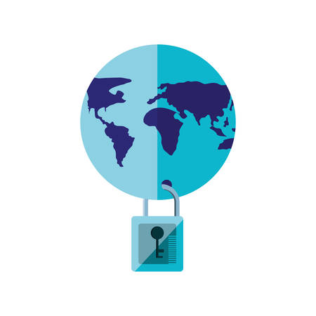 world planet earth with padlock vector illustration design