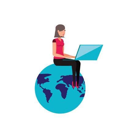 world planet earth with young woman vector illustration design